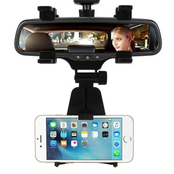 Universal Car Phone Holder Rear View Mirror Cell Phone Mount StandBracket Stands for Samsung iPhone (Black) - intl