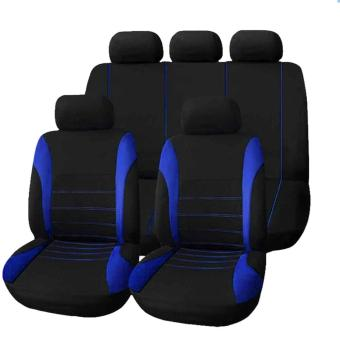 Universal Car Seat Cover Set 9Pcs Seat Covers Front Seat Back SeatHeadrest Cover (BLUE) Price in Philippines