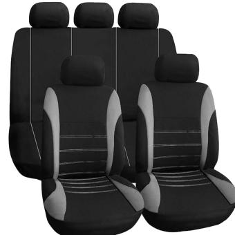 Universal Car Seat Cover Set 9Pcs Seat Covers Front Seat Back SeatHeadrest Cover (GRAY) Price in Philippines