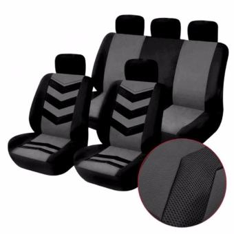 Universal Car Seat Cover Set 9Pcs Seat Covers Front Seat Back SeatHeadrest Cover Mesh Black and Gray - 2