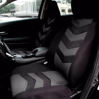 Universal Car Seat Cover Set 9Pcs Seat Covers Front Seat Back SeatHeadrest Cover Mesh Black and Gray - 3