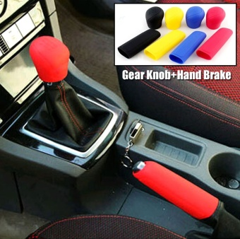 Universal Manual Car Silicone Gear Head Shift Knob Cover Gear ShiftCollars Handbrake Grip Car Hand Brake Covers Case Blue - intl