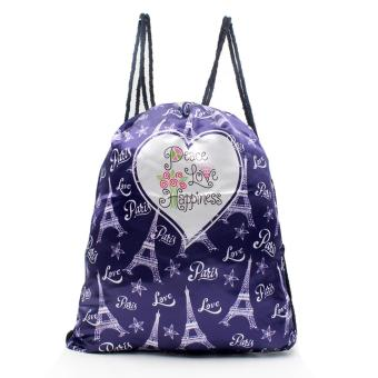 Urban Hikers Waterproof Summer Travel Drawstring Backpack (Peace Love Happiness)