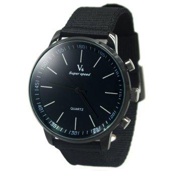 V6 Michael Leather Strap Watch V0276 (Black)