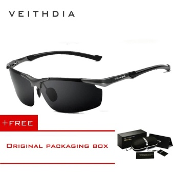 VEITHDIA Aluminum Magnesium Men's Sun Glasses Polarized Sports Driving Sun Glasses oculos Male Eyewear Sunglasses For Men 6592(Grey) [ free gift ]