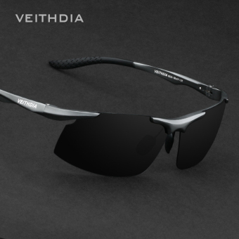 VEITHDIA Aluminum Magnesium Polarized Men's Sunglasses Square Vintage Male Sun glasses Driving Eyewear Accessories For Men 6535(Black/Grey)