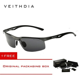 VEITHDIA Aluminum Magnesium Polarized Mens Sunglasses Rimless Driving Sun Glasses Sport Eyewear Accessories For Men male 6591(Grey) [ free gift ]
