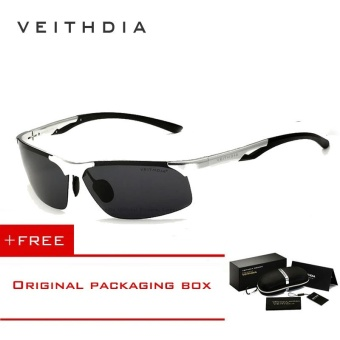 VEITHDIA Aluminum Magnesium Polarized Mens Sunglasses Rimless Driving Sun Glasses Sport Eyewear Accessories For Men male 6591(Silver) [ free gift ]