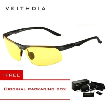 VEITHDIA Aluminum Magnesium Polarized Sunglasses Men Sports Sun glasses Night Driving Mirror Male Eyewear Accessories Goggle Oculos 6502( Yellow) - Intl [ free gift ]