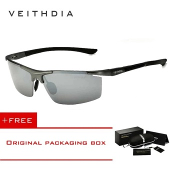 VEITHDIA Aluminum Magnesium Sunglasses Polarized Sports MensCoating Male Eyewear Accessories 6588 (Grey)[ free gift ] - intl