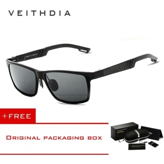 VEITHDIA Aluminum Sunglasses Polarized Lens Men Sun Glasses Mirror Male Driving Fishing Eyewears Accessories 6560 (Black) [ free gift ]- intl