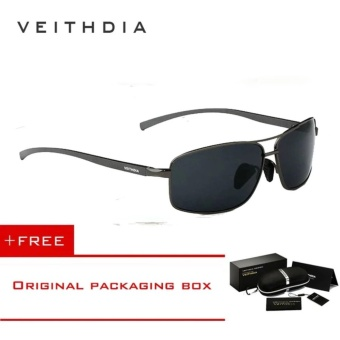 VEITHDIA Brand New Polarized Men's Sunglasses Aluminum Frame Sun Glasses Driving Eyewear Accessories For Men oculos de sol masculino 2458(Grey)[ free gift ] - intl