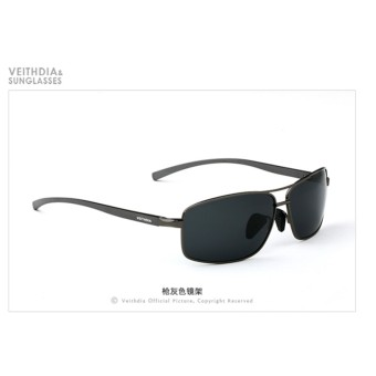 VEITHDIA Brand New Polarized Men's Sunglasses Aluminum Frame SunGlasses Driving Eyewear Accessories For Men oculos de sol masculino2458(Gray/Gray)