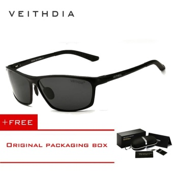 VEITHDIA Brand Polarized Aluminum Magnesium Wrap Men's Sun glasses Male Sport Outdoor Sunglasses Mirror Eyewear For Men 6520 (Black)[ free gift ]