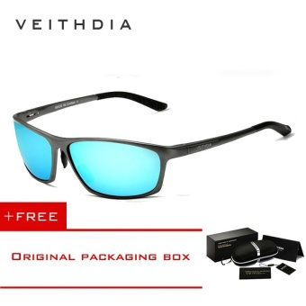 VEITHDIA Brand Polarized Aluminum Magnesium Wrap Men's Sun glasses Male Sport Outdoor Sunglasses Mirror Eyewear For Men 6520 (Blue)[ free gift ]