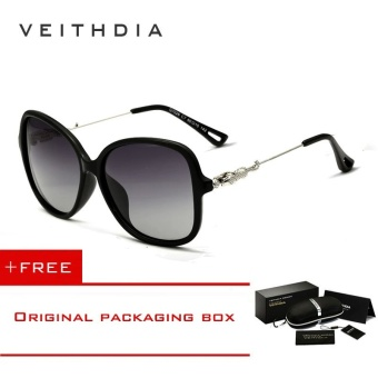 VEITHDIA Brand Retro TR90 Women's Sun glasses Polarized Ladies Designer Sunglasses Eyewear Accessories For Women Women 7026 (Black)[ free gift ]