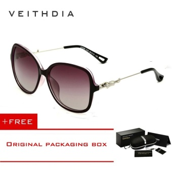 VEITHDIA Brand Retro TR90 Women's Sun glasses Polarized Ladies Designer Sunglasses Eyewear Accessories For Women Women 7026 (Purple)[ free gift ]