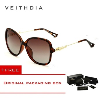 VEITHDIA Brand Retro TR90 Women's Sun glasses Polarized Ladies Designer Sunglasses Eyewear Accessories For Women Women 7026(Leopard)[ free gift ]