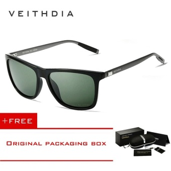 VEITHDIA Brand Unisex Retro Aluminum+TR90 Sunglasses Polarized Lens Vintage Eyewear Accessories Sun Glasses For Men/Women 6108 (dark-green)[ free gift ]