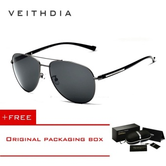 VEITHDIA TR90 Men HD Polarized Sunglasses Vintage Men UV400 Pilot Sun Glasses Sport Sunglass For Men 2708 (Grey) - intl