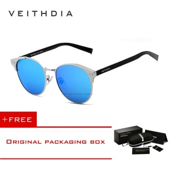VEITHDIA Unisex Retro Aluminum Brand Sunglasses Polarized Lens Vintage Eyewear Accessories Sun Glasses Oculos For Men Women 6109 (Silver blue)[ free gift ]- intl