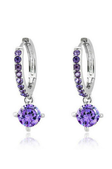 Velishy Zircon Crystal Rhinestone Shining Stud Drop Earrings Purple