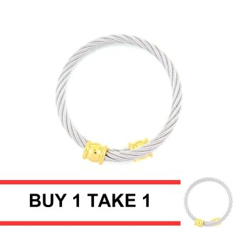 Venice Austin Twisted Silver Cable Wire Gold End Cuff Bracelet Buy 1 Take