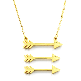 Venice Jewelry Gold Arrow Necklace and Earrings Jewelry Set (18kGold Plated)