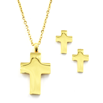 Venice Jewelry Gold Big Cross with Crystals Necklace and EarringsJewelry Set (18k Gold Plated)