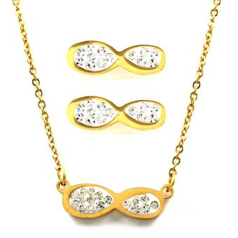 Venice Jewelry Gold Infinity with Crystals Necklace and Earrings Jewelry Set (18k Gold Plated)