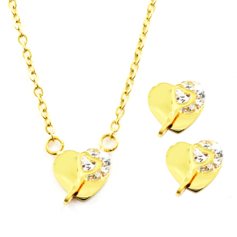 Venice Jewelry Gold Key in Heart Necklace and Earrings Jewelry Set(18k Gold Plated)