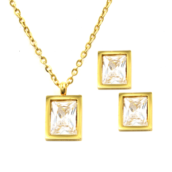 Venice Jewelry Gold Rectangular Pendant Necklace and EarringsJewelry Set (18k Gold Plated)