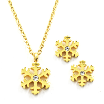 Venice Jewelry Gold Snowflakes Necklace and Earrings Jewelry Set(18k Gold Plated)