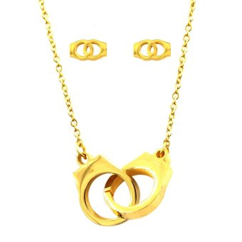 Venice Jewelry Handcuff Gold Necklace and Earrings Jewelry Set (18k Gold Plated)