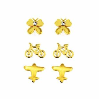 Venice Jewelry Set of 3 Stainless Steel Earrings (18K Gold Plated)