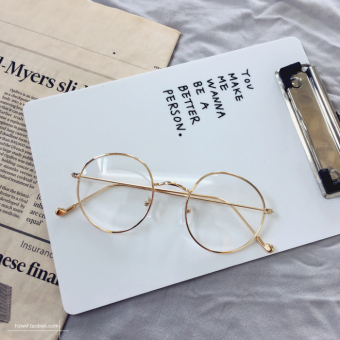Versatile metal student New style glasses plain mirror