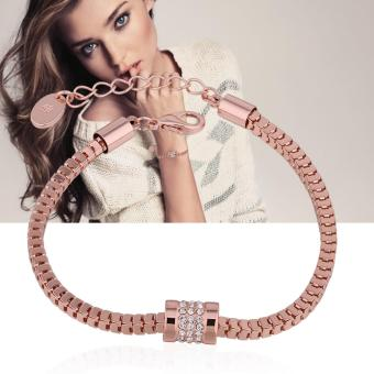 Victoria Genuine 18K Rose Gold Plated solid Zircon Bracelet