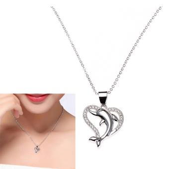 Victoria Sterling Silver Dolphin Love Heart Pendant Necklace