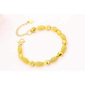 Vietnam 24k gold plated Charm Bracelet women jewelry wholesale brass plated 24K gold with bell Ladies bracelet anklet - intl - 3