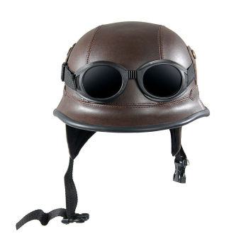 Vintage Motorcycle Helmet with Goggles Old Style Protection Shell Helmet for Scooter Bike - intl
