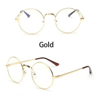 Vintage Round Eye Glasses Frame Men Women Brand Designer Reading Metal Circle Frame Optical Eyeglasses Eyewear Male Cheap(gold) - intl