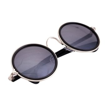 Vintage Round Mirror Lens Sunglasses Black+Siliver