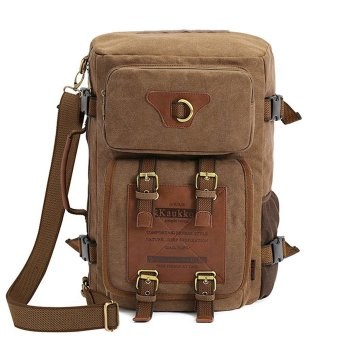 Vintage Rucksack Canvas Luggage Travel Hiking Backpack Duffel Bag for Men and Women Hiking Travel Shoulder Bag Climbing Camping Sports Mountain Backpack / Camping Backpack / Gym Bag / Laptop backpack / Retro Canvas Weekend Travel Duffel Bag - intl