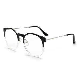 Vintage Womens Man Eyeglasses Reading Glasses Retro Unisex Metal Eye Glasses Frame Optical UV Protection Clear Lenses CJ062-03 (Half Black Frame)