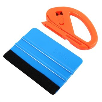 Vinyl Safety Cutter & Felt Edge Squeegee Scraper Kit Vehicle Car Wrapping Tools - intl