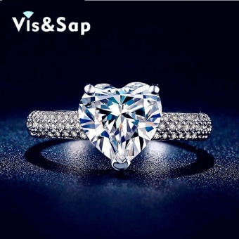 Visisap White color ring Heart shape 2.5ct cubic zirconiaEngagement Wedding Rings For Women vintage Jewelry Bijoux VSR048 -intl
