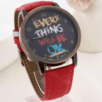 Watch Leather Strap ( red) everything will be OK design Analog