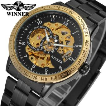 Watch Men Winner Automatic Mechanical Mens Skeleton Wrist Steel Stainless (Brown Black) - intl