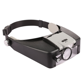 Watch Repair Head Headband Glasses Magnifier Loupe 10X With LED Light Lamp (Intl)