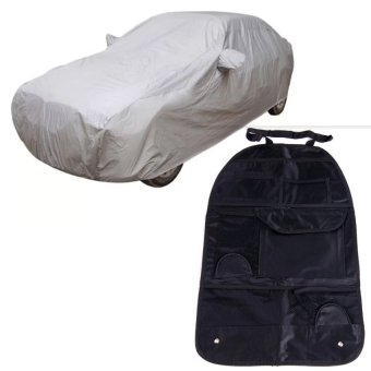 Waterproof Lightweight Nylon Car Cover for Sedan Cars(Gray)withHigh quality Waterproof fabric Car Auto Vehicle Seat BackStorage Pocket Backseat Hanging Storage Organizer Bag blck